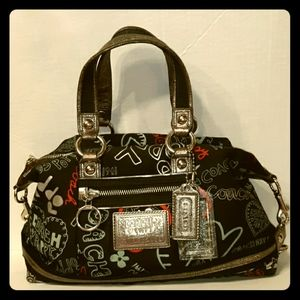 Rare COACH Poppy Graffiti Hearts Luxey Satchel